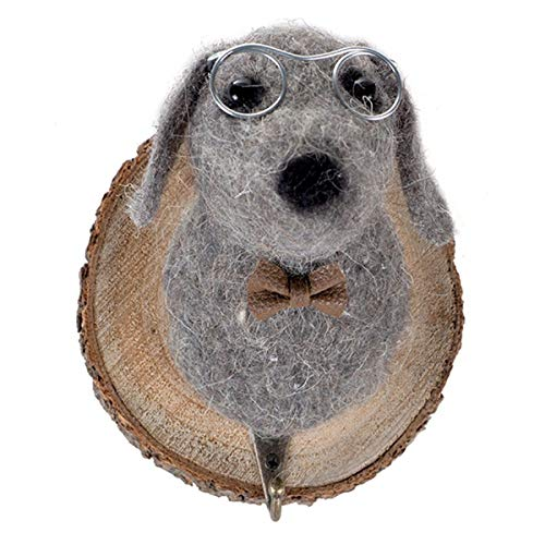 Kleiderhaken, Hund mit Brille, Filz, Holz, Garderobe Wandhaken Kleiderhaken Haken Anhänger Hakenleiste