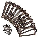 INCREWAY - Tirador para tarjetas de 35 piezas, para cajones, marcos de etiquetas, tarjetero, tirador de etiquetas, portatarjetas o portatarjetas - Color bronce metálico con tornillos