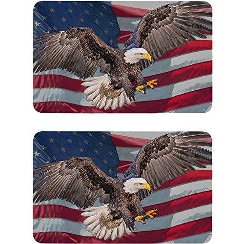 Vnurnrn Imán patriótico para lavaplatos, placa magnética, con bandera de águila americana, para cocina, oficina, lavadora, indicador de 2 unidades