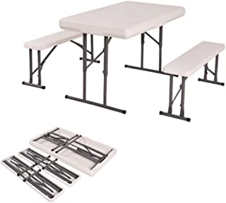 Portable Folding Table & Benches Height Adjustable Outdoor Picnic Party Home Kitchen Dining Furniture Set #1608sp