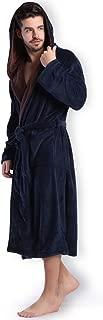 Hooded Herringbone Men's Navy Soft Spa Long Bathrobe,Comfy Full Length Warm Nightdress