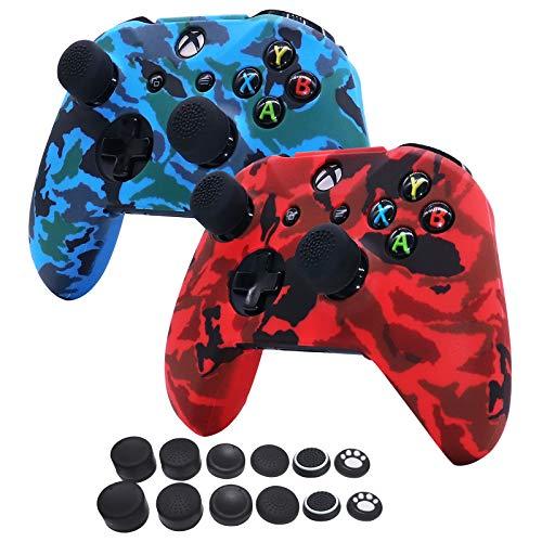 HLRAO Agua Transferir Impresión Camuflaje Silicona Cubrir la Piel Caso para Xbox One X/One S Controlador x 2 (Rojo & Azul) con empuñaduras Pro x 12