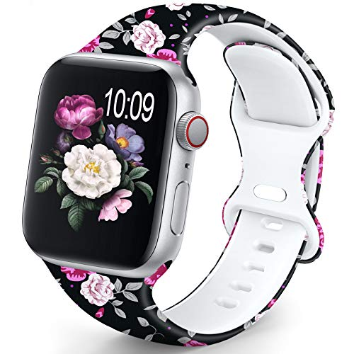 OHOTLOVE Compatible with Apple Watch 38mm 40mm 42mm 44mm for Women Men, Soft Silicone Pattern Printed Replacement Wristband Band For Iwatch Series 6 & Series 5 4 3 2 1.Black Rose A