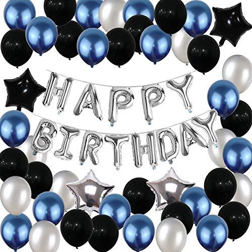 SUNPAT Decoraciones de Globos de Cumpleaños, Suministros Para Fiestas de Cumpleaños Feliz Cumpleaños Globos Banner Azul y Plata Negro Decoraciones Para Fiestas