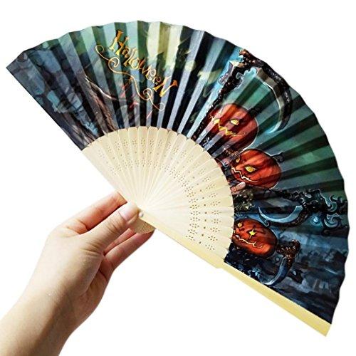 Zarupeng Halloween-fans, hout, opvouwbaar, met pompoen, schedel, spin, heks, handgesneden bamboe, vintage stijl Eén maat C