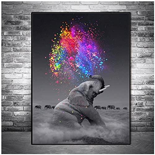 Elefante Wall Art Posters Animal Print on Canvas Wall Pop Art Pictures Sala de estar Habitación infantil Decoración de pared -50x70 cm x1 Sin marco