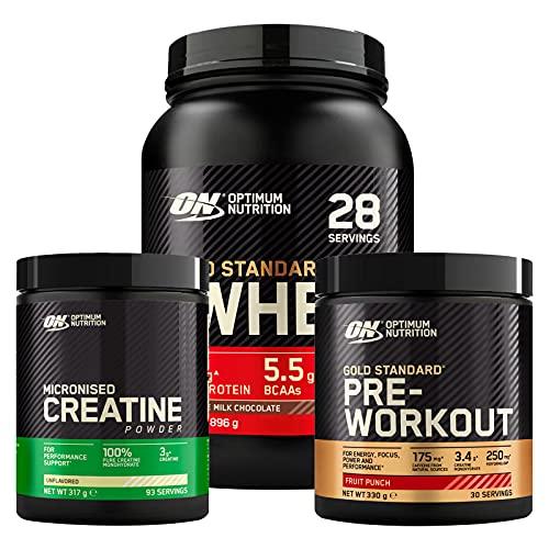 Optimum Nutrition Gold Standard Pre-Workout Mix di Frutta 330g 30 Porzioni + Micronised Creatine Monohydrate 317g 93 Porzioni + 100% Whey Proteine Cioccolato al Latte 896g 28 Porzioni