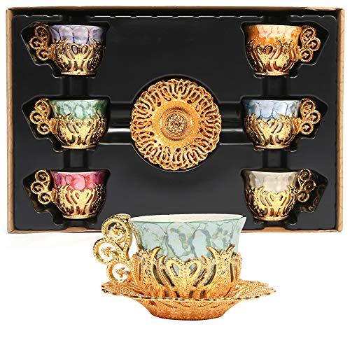 Alisveristime Juego de 12 platos de porcelana de café árabe griego turco (oro)