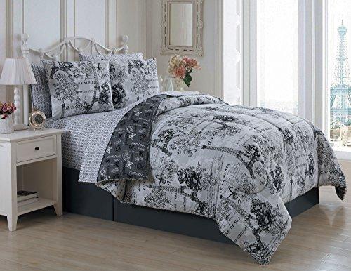 Avondale Manor Fashion Amour 8-Piece Parisian Reversible Queen Comforter Sheet Bed in a Bag Set, Black/White