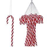 50 Piezas Adornos Colgantes de Bastón de Caramelo de Plástico de Muleta de Navidad Accesorios de Bastón de Navidad Colgantes para Fiesta de Navidad