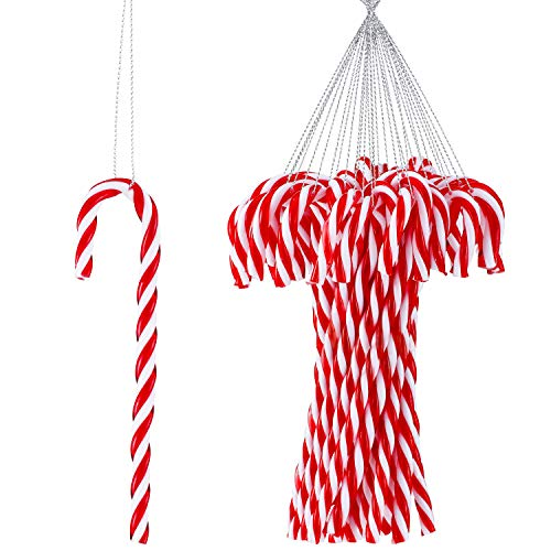 Skylety 50 Piece Christmas Crutch Plastic Candy Cane Hanging Ornaments Christmas Cane Accessories Hanging with Rope for Christmas Party
