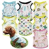7 pezzi camicie per cani maglietta t-shirt per cuccioli di animali stampata felpa per cani traspirante carina gilet morbido estivo moda abbigliamento da spiaggia per cani e gatti di piccola taglia, m