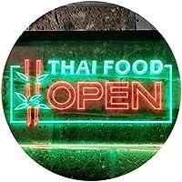 Open Thai Food Shop Restaurant Dual Color LED看板 ネオンプレート サイン 標識 緑色 + 赤色 400 x 300mm st6s43-j0705-gr