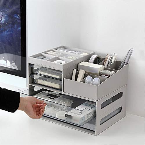 Contro parte superiore Libreria Cassetto rack di stoccaggio di plastica rack detriti File di rifinitura a Ufficio Scolastico Desktop Storage Box per l'ufficio e casa ( Color : Gray , Size : ONE SIZE )
