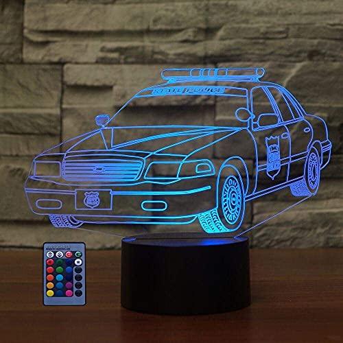 DCLINA 3D Polizeiauto Nachtlicht Optische Täuschung Lampe 7/16 Farben Ändern USB-betriebene Fernbedienung Touch-Schalter LED 3D Lampe Weihnachten Geburtstag Kinder Kinder Dekor Spielzeug Geschenk