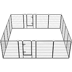 Topeakmart 24/32/40-inch Foldable Metal Dog playpen - Heavy Duty Portable Pets Playpen Foldable Dog Exercise Pen Barrier Kennel Puppy Fence w/ 2 Pcs Door Outdoor Indoor Black 16 Panels/32 Panels