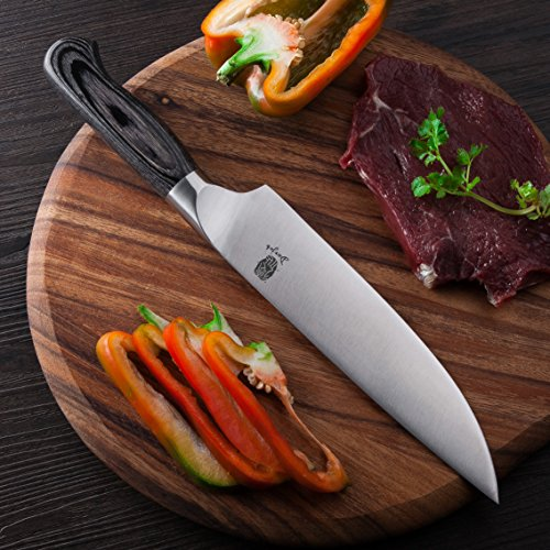 Chef knife Derjob Chef's Knives Professional 8 Inch Blade Ergonomic Wooden Handle High Carbon Germany X50crmov15 Stainless Steel with Sharp Cut Edge Best for Kitchen Cutting Slicing