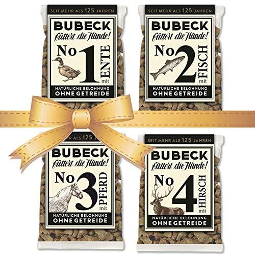 seit 1893 Bubeck Hundeleckerli getreidefrei | Multipack 4 x 210g | mit Ente, Fisch, Pferd & Hirsch | Hundekekse für Hunde Aller Rassen | Zuckerfrei