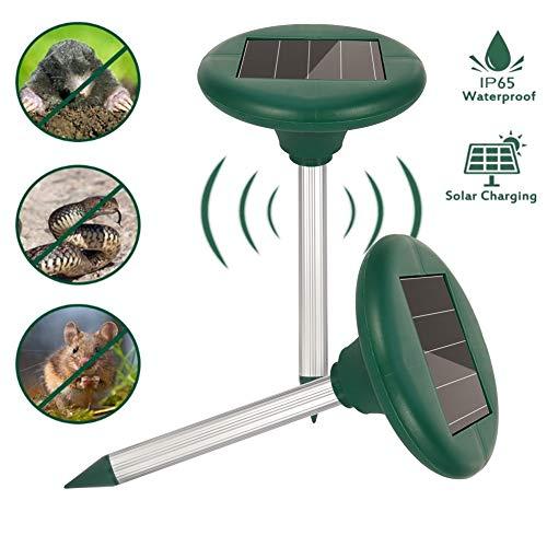 miuse 2 Stück Solar Maulwurfabwehr, Ultrasonic Solar Maulwurfschreck, Maulwurfbekämpfung, Wühlmausschreck, Mole Repellent, Schädlingsbekämpfung mit IP56 für Den Garten