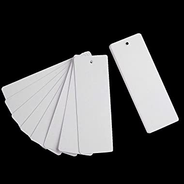 Teemico 96 Pcs Kraft Paper Blank Cardstock Bookmarks for DIY Projects and Gifts Tags, White, 5.5 by 2 inch (48Pcs Bookmarks w