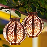 MAGGIFT 2 Pack Hanging Solar Lanterns Retro Solar Lights with Handle, Outdoor Solar Garden...