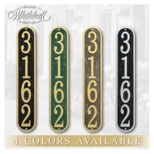 Personalized Cast Metal Vertical Address plaque. Four colors available! Custom house number sign.