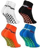 Rainbow Socks - Niñas Niños Calcetines Antideslizantes de Deporte - 4 Pares - Bianco Negro Naranja Azul - Talla 24-29