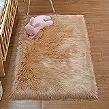 DAOXU Piel de Imitación,Cozy sensación como Real, Alfombra de Piel sintética Lavable para sofá o Dormitori (75 x 120 Marrón