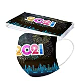 Gpure 10PC Adulto Feliz Año Nuevo Desechable Tela no Tejido De 3 Capas Dibujos Bonitas Letra 2021 Fuegos Artificiales Mujer Hombre Higiencicas 5 Colores Protectora Bufanda (A)