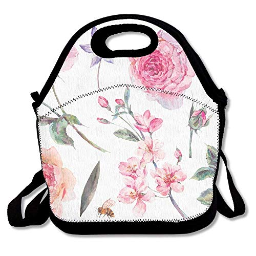VTXWL Spring Set Vintage Watercolor Bouquet of Pink Roses Leaves Blooming Branches Flowers Bee and Funniest Lunch Tote Lunch Bag School...
