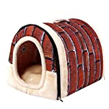 WPCASE Cueva Gato Casita Perro Casa para Gatos para Perros Gatos, Cama Casa para Mascotas Cachorros De Felpa Corta CáLido para Invierno Vintage