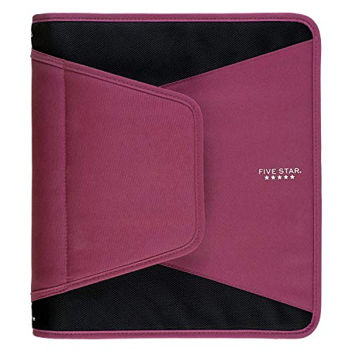 Five Star 1-1/2 Inch Zipper Binder, 3 Ring Binder, 3-Pocket Expanding File, Durable, Berry Pink/Purple (72532)