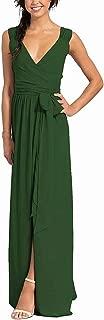 DDBridal Women's Wrap Maxi Dress Faux V-Neck Slit Chiffon Long Ruching Bridesmaid Dress