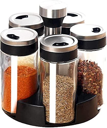 Draaiende Spice Rack met 6 Jars Countertop Spice Tower Round Spice Rack Countertop Spice Rack Spice Rack Organizer voor…