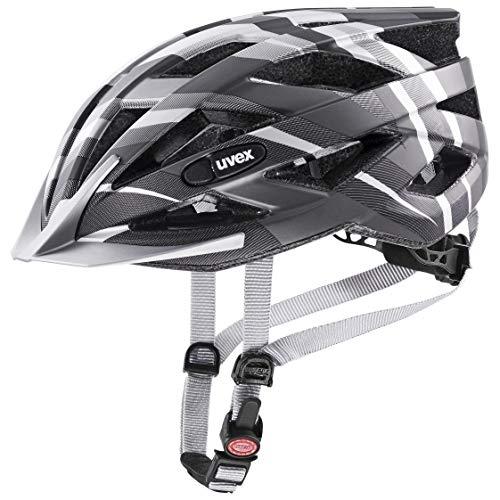 uvex Unisex– Erwachsene, air wing cc Fahrradhelm, black - silver mat, 52-57 cm