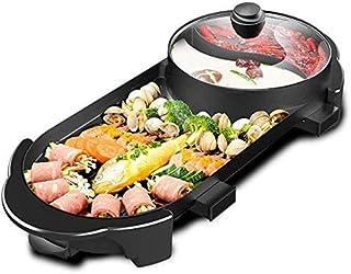 Vogvigo 2 en 1 Fondue Electrique Hot Pot BBQ Appareil Fondue Pot de Cuisine Intégré Sans Fumée BBQ Hot Pot Grande Capacité...