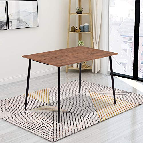 GOLDFAN Rechteckiger Esstisch aus Holz Retro Industrie-Design Küchentisch Mit Metallbeinen für Esszimmer Wohnzimmer Küche, Braun