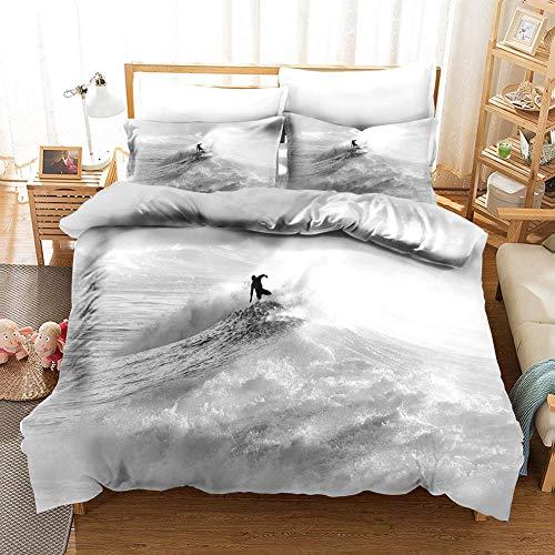 Juego de funda de edredón de microfibra para dormitorio con estampado 3D de surf, incluye fundas de almohada y funda de edredón para cama doble King (200 x 200 cm), color verde, Spray gris, 200x200cm