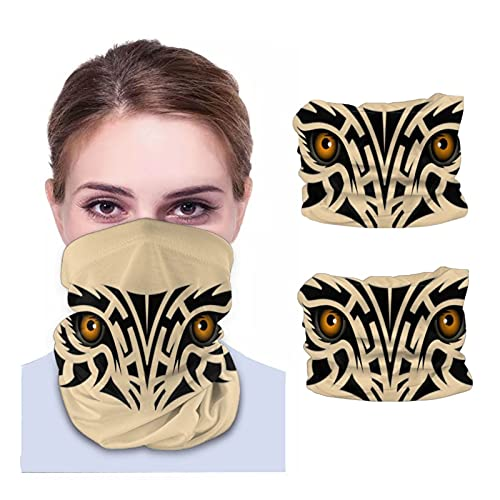 Face Cover Bandanas Novelty Tribal Tattoo Tiger Eyes Neck Gaiter Balaclava Head Wrap Scarf for Women Men 2 Pcs Black