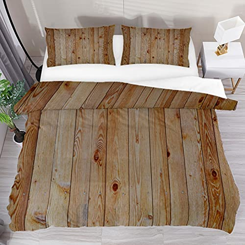 Juego de funda de edredón con textura de madera de grano de tres piezas, juego de cama king size con 2 fundas de almohada y 1 funda de edredón para el hogar, mujeres y hombres