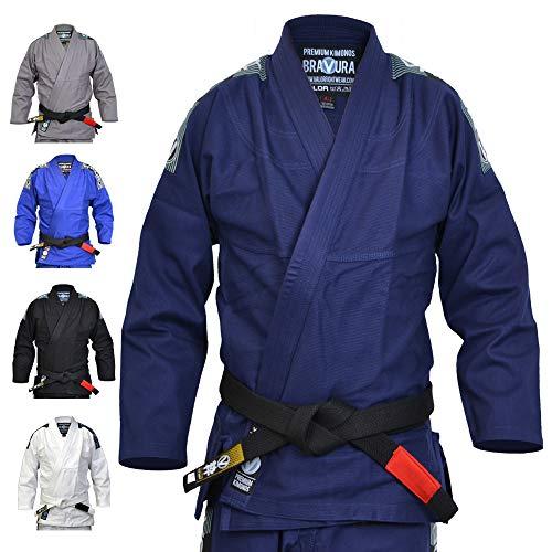 Valor Bravura Kimono BJJ GI color azul marino con cinturón blanco de regalo