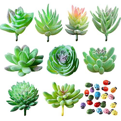 YuChiSX 9 Pezzi Piante Grasse Finte Decorative, Affollamento Piante Succulente Artificiali Verde Flower Succulente per Interni/Esterni Fai Da Te Disposizione Floreale Decorazione Della Casa