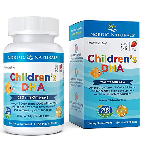 Nordic Naturals Children's DHA Strawberry - Children's Fish Oil Supplement for Healthy Cognitive Development and Immune Function*, 180 Count