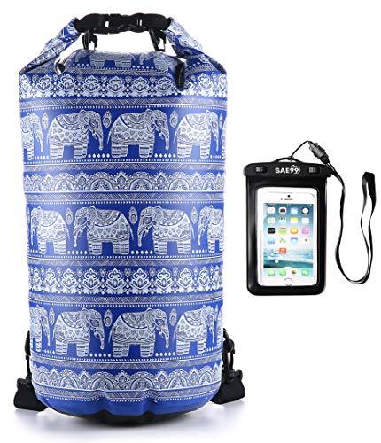 SAE99 Elephant Print Floating Waterproof Dry Bag/w Waterproof Phone Case, for Kayaking, Rafting, Boating, Swimming, Camping, Hiking, Beach, Fishing (Blue/w White Print, 10L)