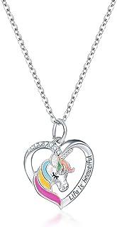 N/G Regalo de niña Unicornio, Collar de niña Unicornio, Regalo de Dama Unicornio, Regalo de cumpleaños de niña con Colgant...