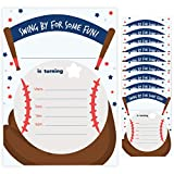 Baseball Style 1 Happy Birthday Invitations Invite Cards (10 Count) With Envelopes Boys Girls Kids Party (10ct)
