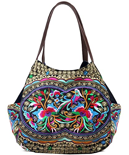 Worldlyda Women Canvas Hobo Purse Multi Pocket Tote Shopper Shoulder Bag Casual Top Handle handbag with Embroidery Ethnic (Upgraded Flowers)