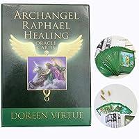 ブックレットのフル英語版Booklet Tarot Archangel Raphael Healing Oracle Card 44 PCS Oracleカードデッキ、初心者のためのパーティーの占いカードゲーム