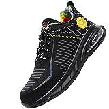 Transpirable Comodo Calzado de Seguridad Deportivo,Hombre Mujer Transpirable Ligeras con Puntera de Acero Calzado de Zapatos de Trabajo Industrial y Deportiva,Black 1▁40