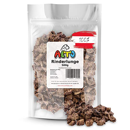 Alto-Petfood - 500g getrocknete Rinderlunge für Hunde - Kleine Häppchen, Würfel | 100% natürliche Hundeleckerli, Kauartikel, Kausnack wie Rinderkopfhaut, Schweineohren | wiederverschließbarer Beutel